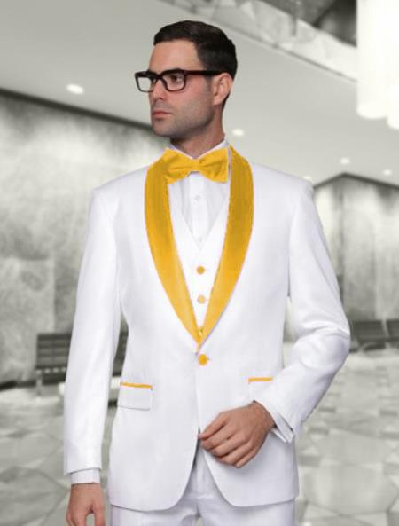 Mens White and Gold Tuxedo Wedding  Prom Fashion Vest & Pants