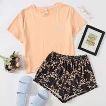 Letter Embroidered Tee With Floral Shorts PJ Set