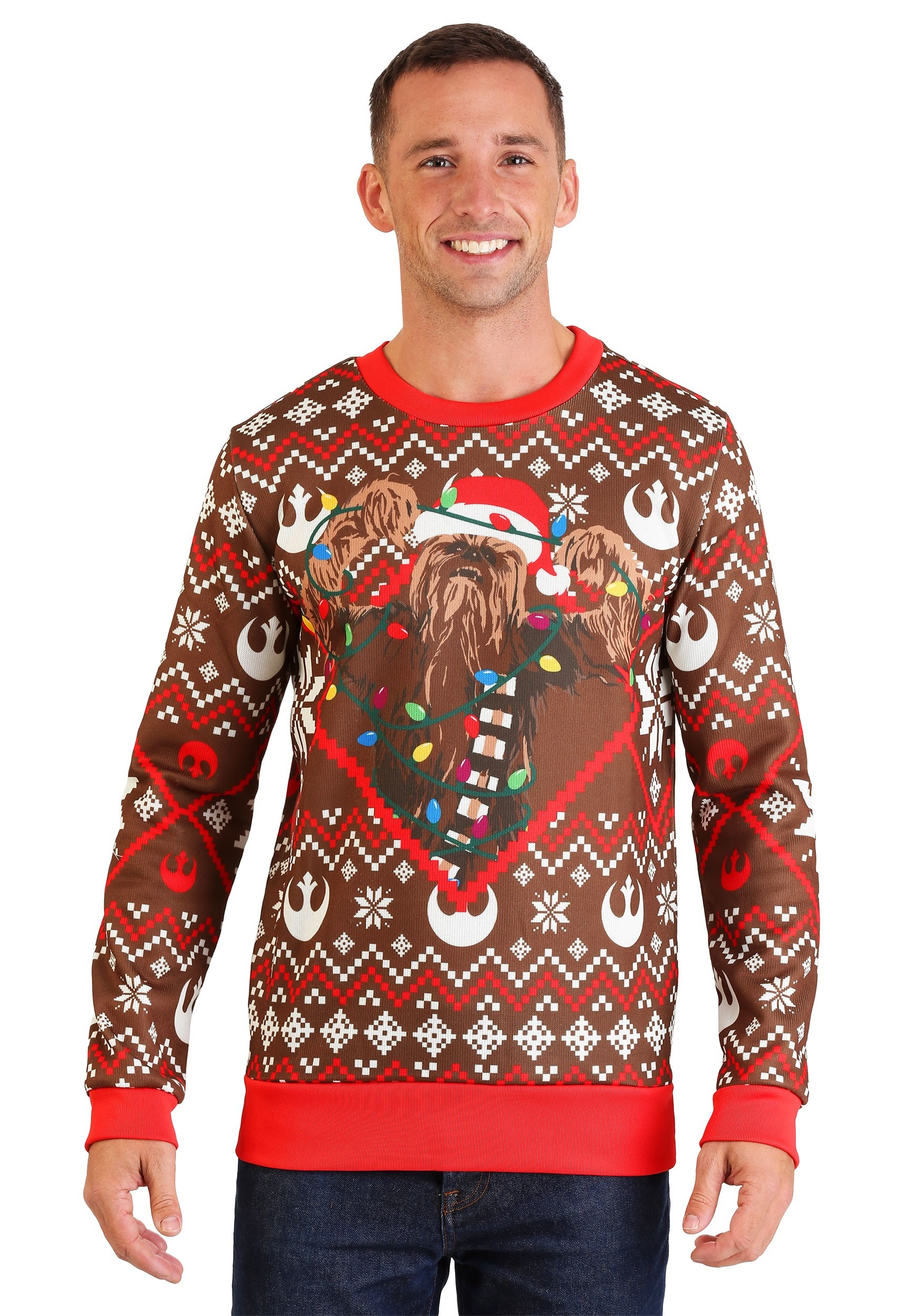 Adult Star Wars Chewbacca Lights Brown/Red Ugly Christmas Sweater