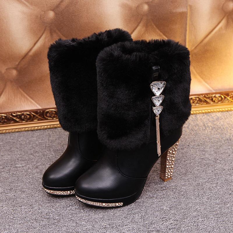 Ericdress Fuzzy Rhinestone Slip-On Chunky Heel Boots