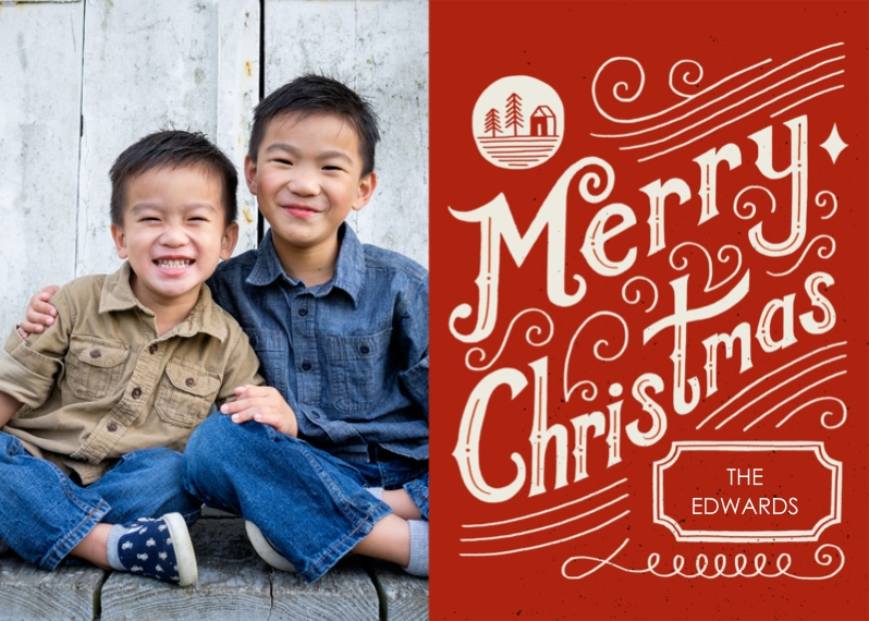 Christmas Photo Cards 5x7 Cards, Premium Cardstock 120lb with Elegant Corners, Card & Stationery -Seasonal Scribbles