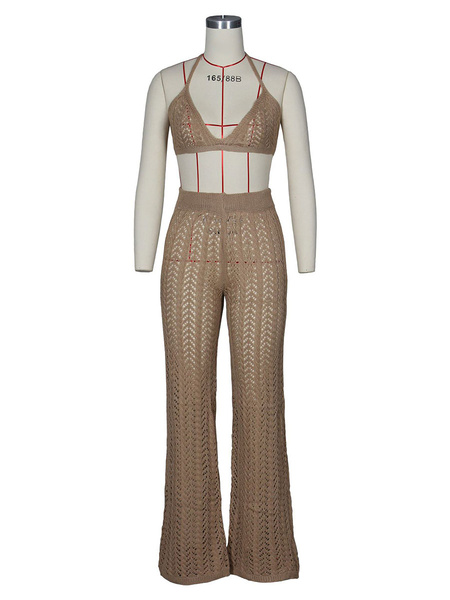 Milanoo 2 Piece Outfit Sheer Knitted Bralette With Pants Beachwear