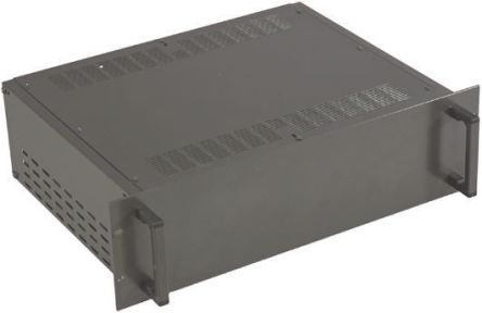 RS PRO Ventilated Rackmount Enclosure, 2U, 84 HP, Height 88.1mm, 335mm Deep, Black