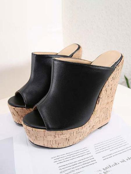 Milanoo Sandal Slippers Wedge Black Open Toe Sandal Slides Womens Mules