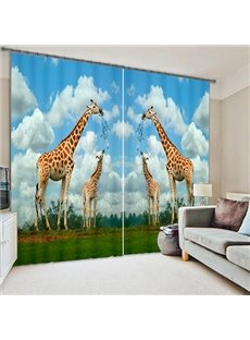 3D Symmetrical Giraffes Printed Thick Polyester Vivid Scenery 2 Panels Shading Curtain