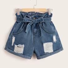 Paperbag Waist Distressed Denim Shorts