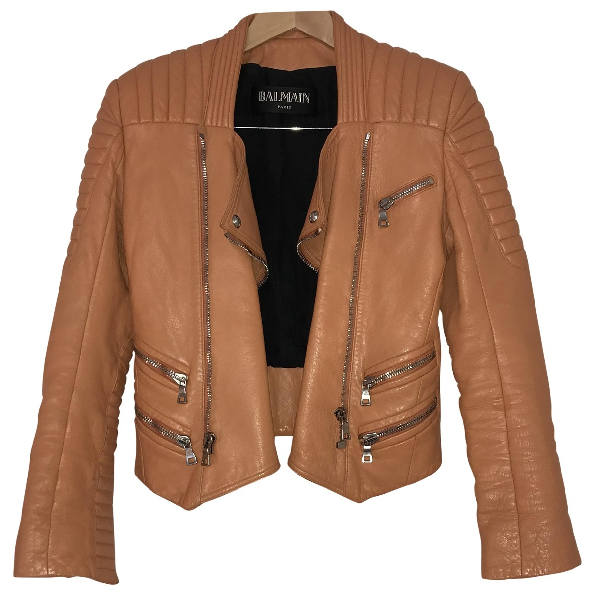 Balmain \N Orange Leather jacket for Women 36 FR