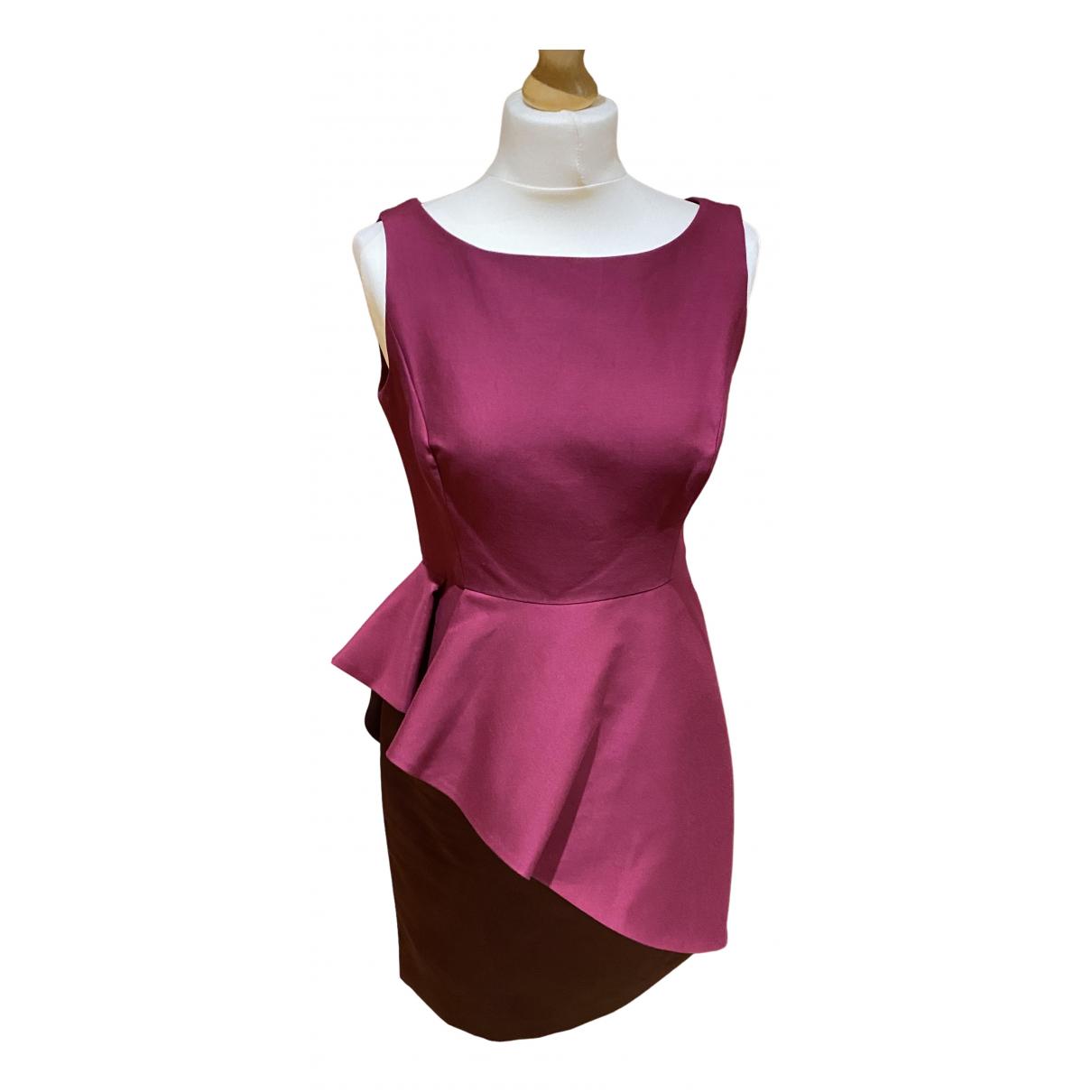 Halston Heritage - Robe   pour femme en soie - bordeaux