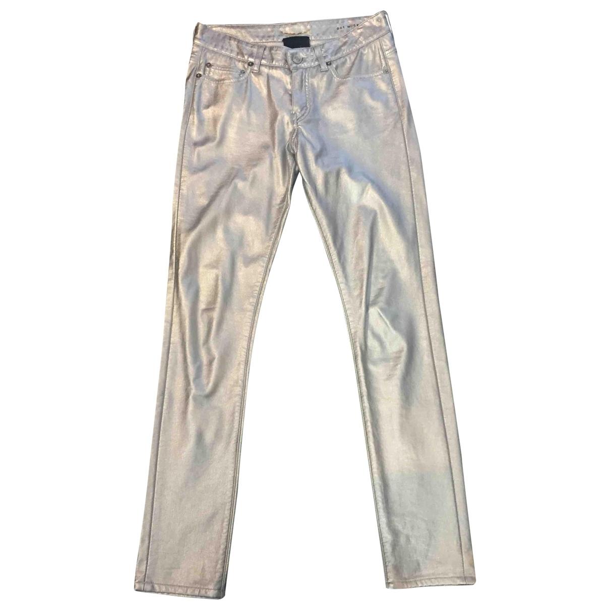 Saint Laurent \N Metallic Cotton Trousers for Women XS International
