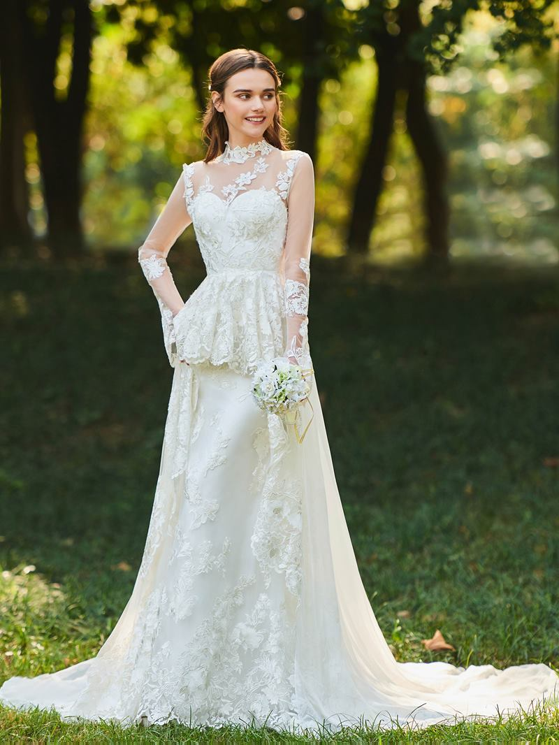Ericdress High Neck Appliques Long Sleeves Wedding Dress
