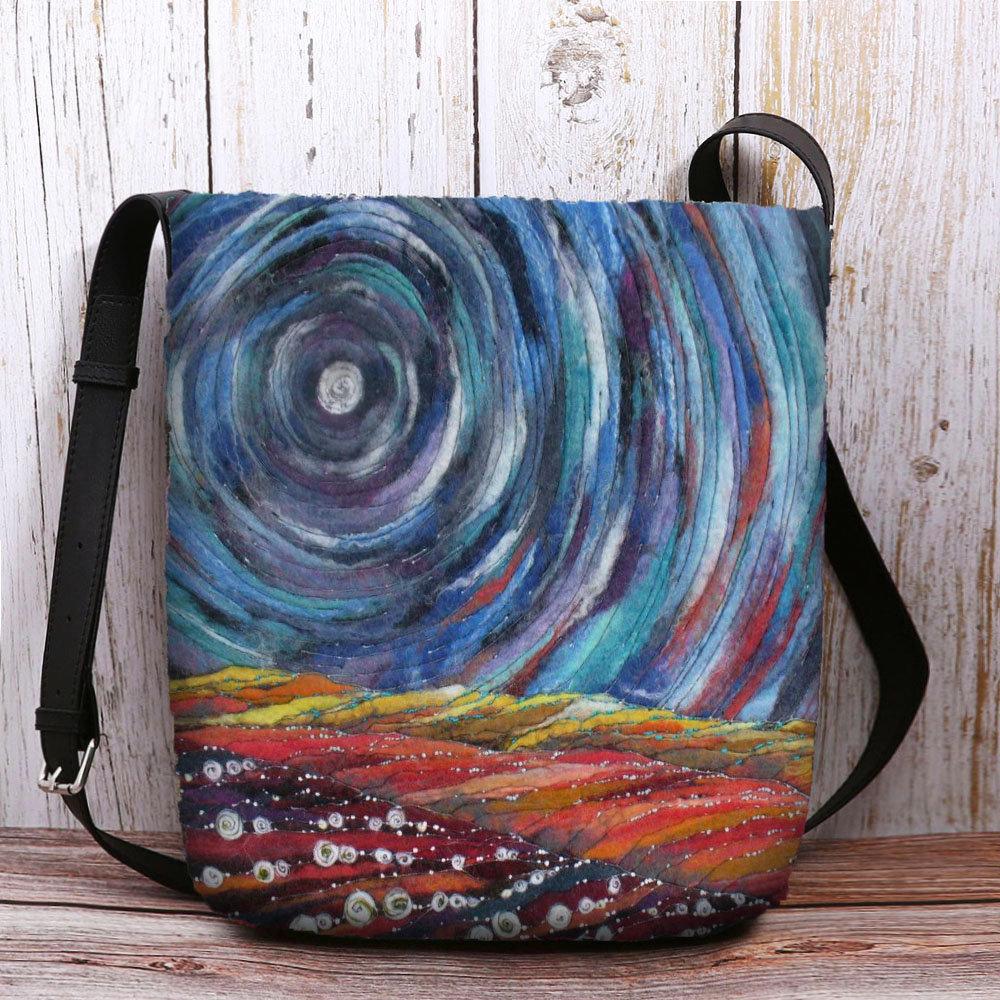 Women Starry Sky Colorful DIY Lamb Hair Bag Crossbody Bag