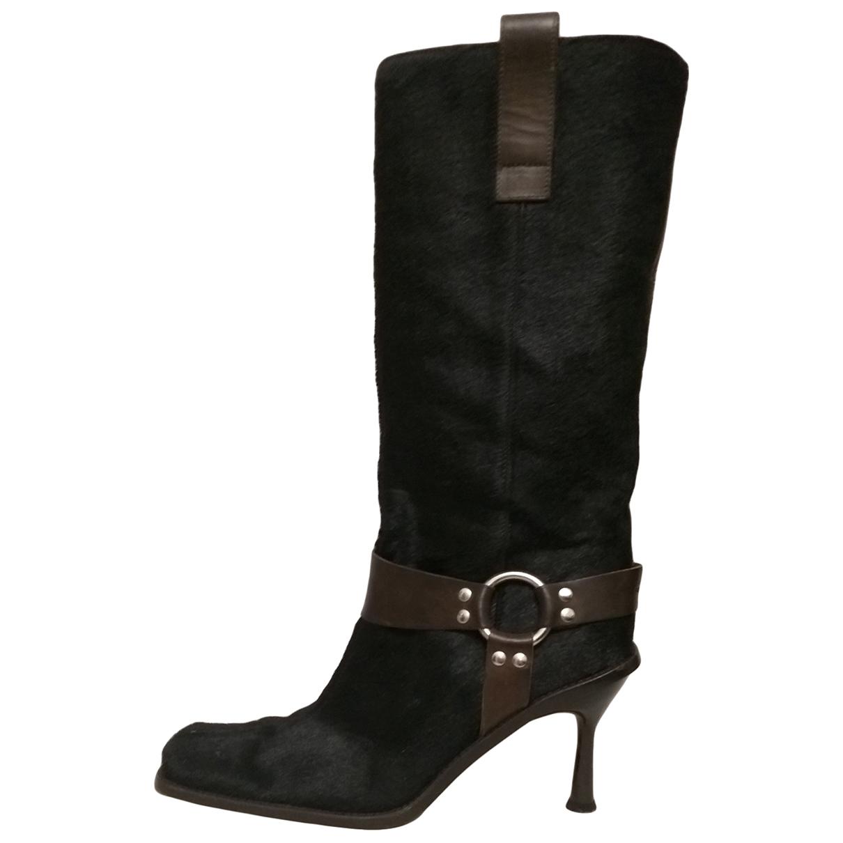 Dolce & Gabbana \N Stiefel in  Schwarz Kalbsleder in Pony-Optik