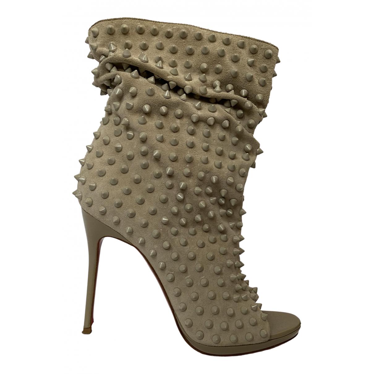 Christian Louboutin N Beige Velvet Ankle boots for Women 39 EU