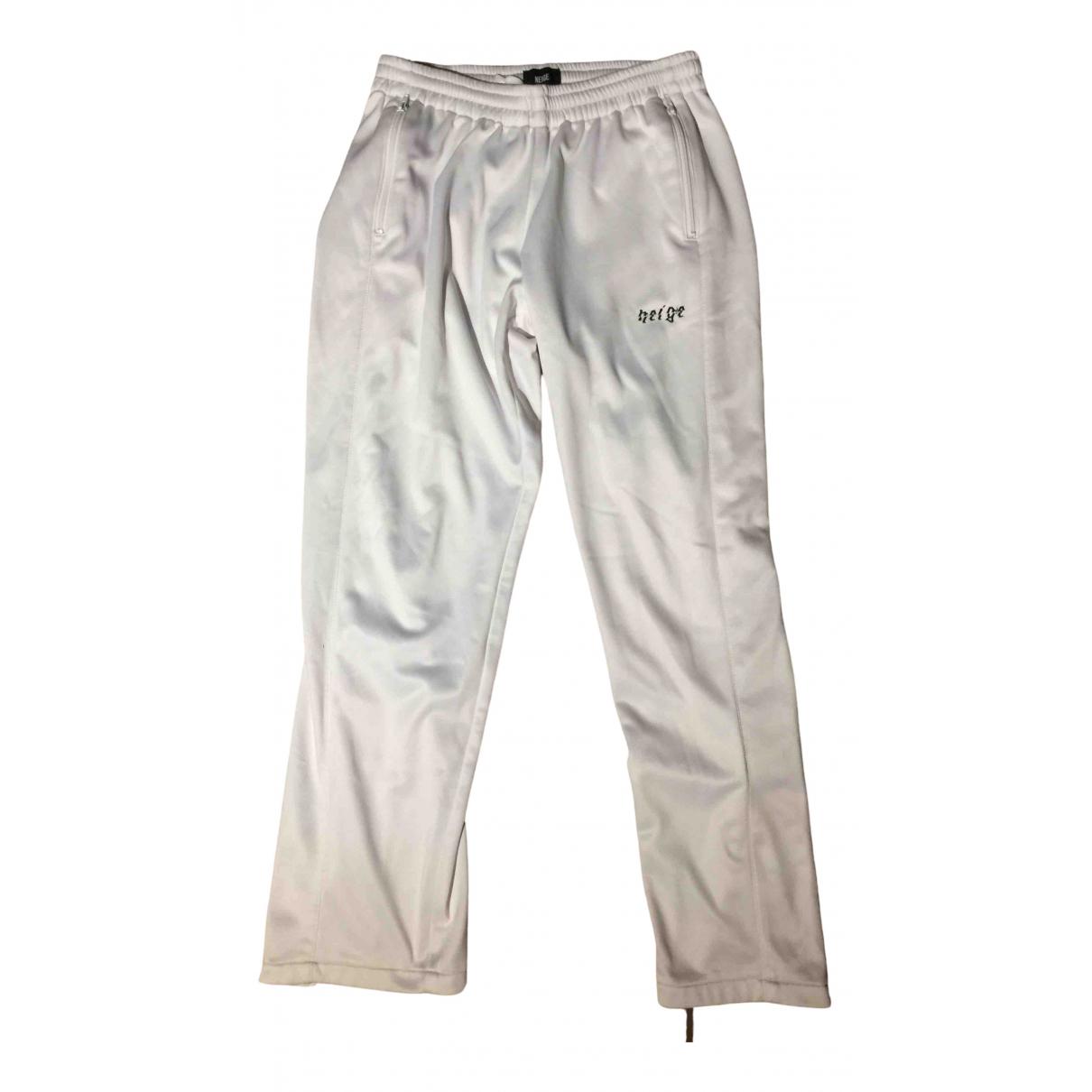 Pantalones en Algodon Blanco Non Signe / Unsigned