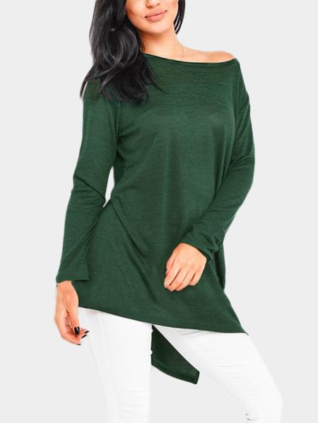 Yoins Green Slit Design One Shoulder Long Sleeves T-shirt