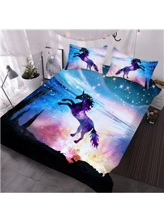Jumping Unicorns Comforter 3D Animal Printed 3-Piece Comforter Sets wth 2 Pillowcases