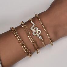 4 piezas brazalete con diamante de imitacion