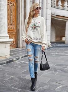Compass Print Raglan Sleeve Sweatshirt