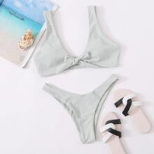 Plain Knot Front Bikini Swimsuit