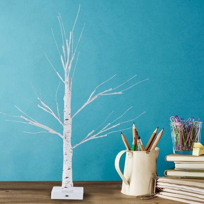 Christmas Decoration, LED White Birch Tree with 4 Hour Timer, 24in