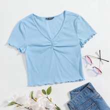 Camiseta tejida de canale ribete en forma de lechuga escote V