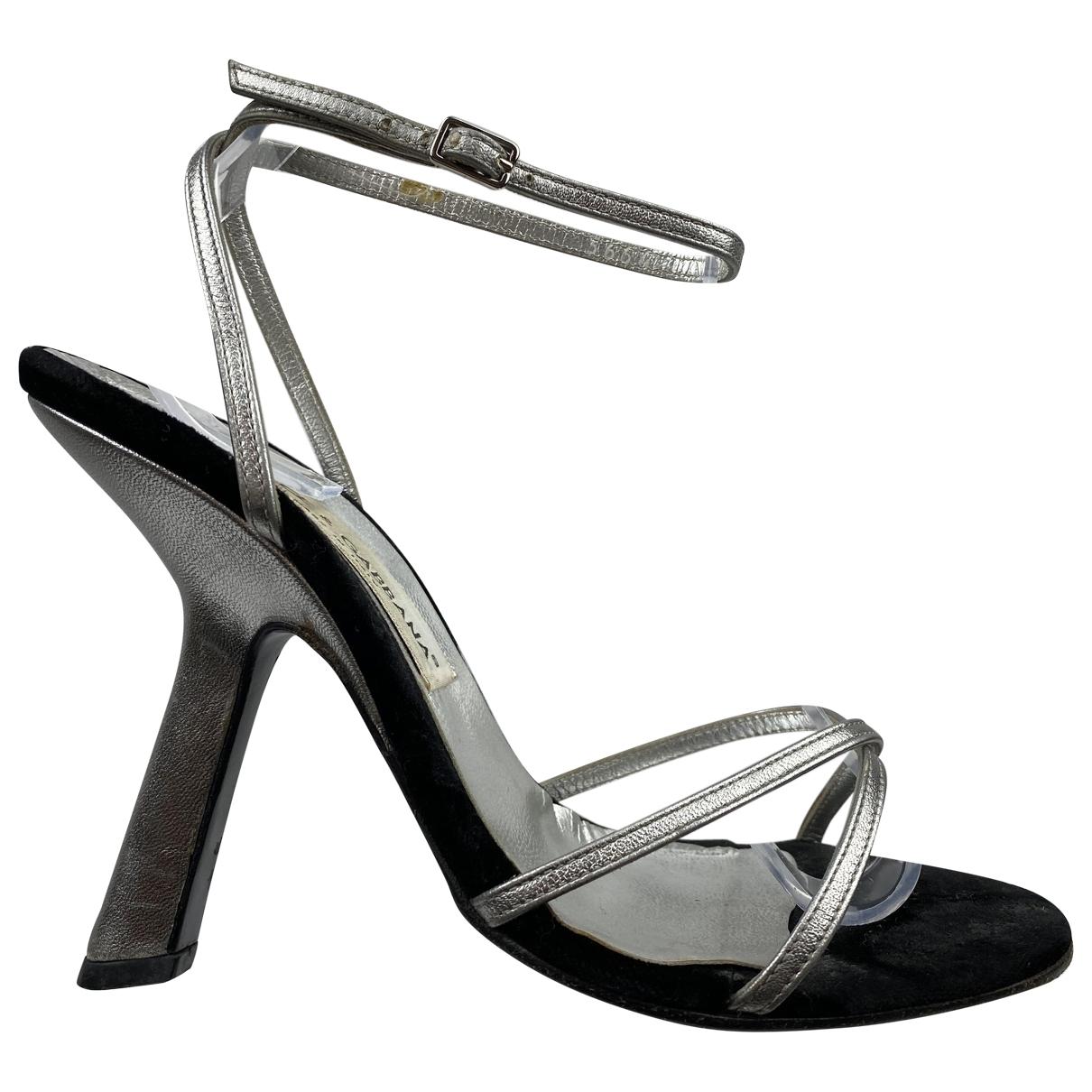 Dolce & Gabbana - Sandales   pour femme en velours - argente