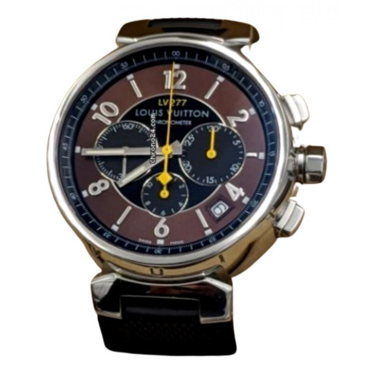 Louis Vuitton - Montre Tambour Chronographe pour homme en acier - marron