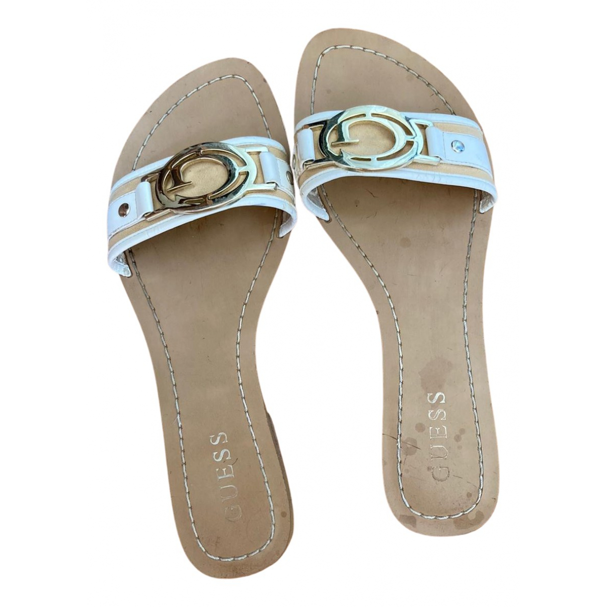 Guess N Beige Leather Mules & Clogs for Women 38 EU