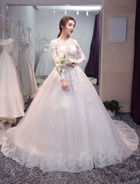 Milanoo Princess Wedding Dresses Long Sleeve Bridal Dresses Lace Backless Illusion Wedding Gown With Long Train