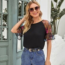 Floral Embroidered Mesh Flounce Sleeve Top