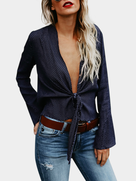 Yoins Navy Wave Point Deep V Neck Long Sleeves Blouse
