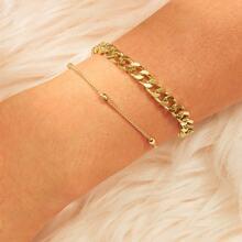 Armband mit Perlen Detail und Kette 2pcs