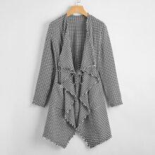 Mantel mit Hahnentritt Muster, umgesaeumtem Saum und Guertel