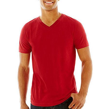 Arizona Super Soft Mens V Neck Short Sleeve T-Shirt, X-small , Red