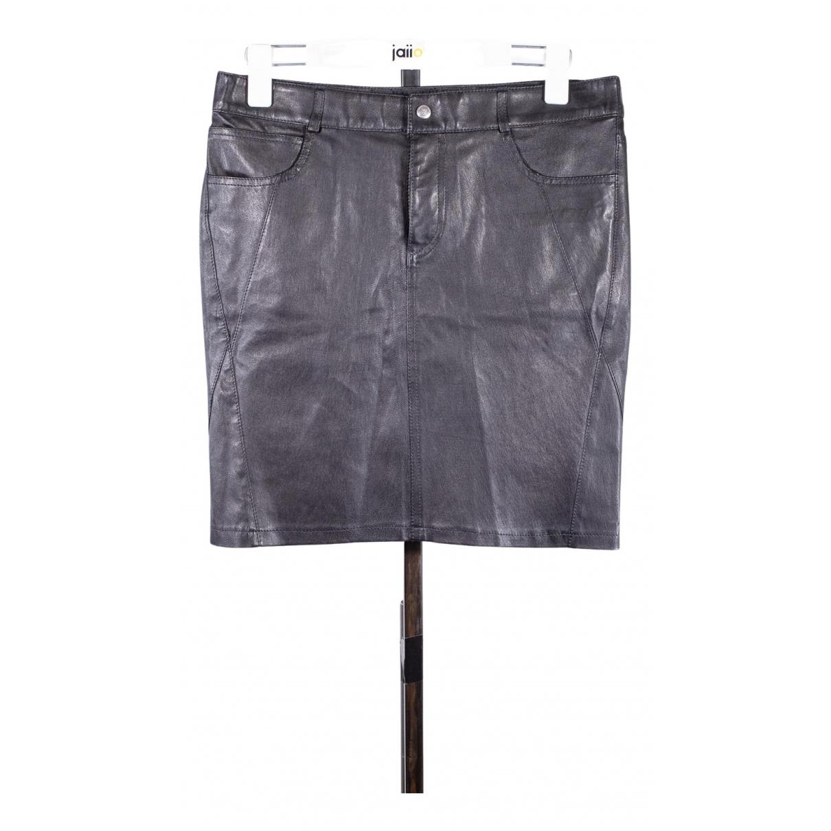 Ventcouvert - Jupe   pour femme en cuir - noir