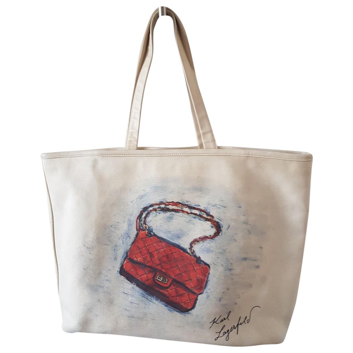 Chanel \N Handtasche in  Ecru Leinen