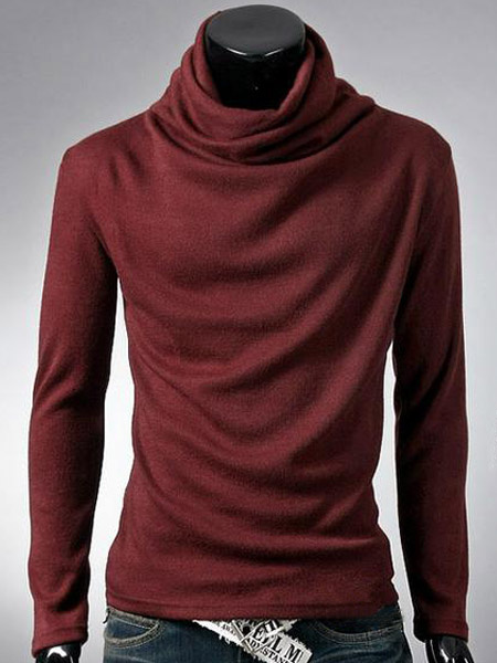 Milanoo Long Sleeves High Collar Solid Color Cotton Daily T-Shirt For Man