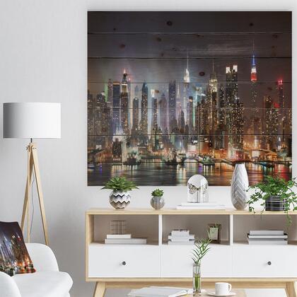 WD8281-46-36 Lit Nyc Manhattan Skyline - Cityscape Photo Print On Natural Pine Wood -