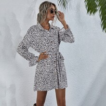 Dalmatian Print Button Front Belted Dress