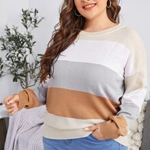 Plus Drop Shoulder Colorblock Sweater