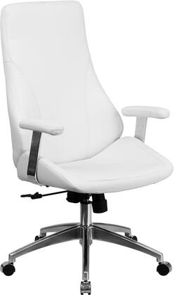 BT-90068H-WH-GG High Back White Leather Executive Swivel Office