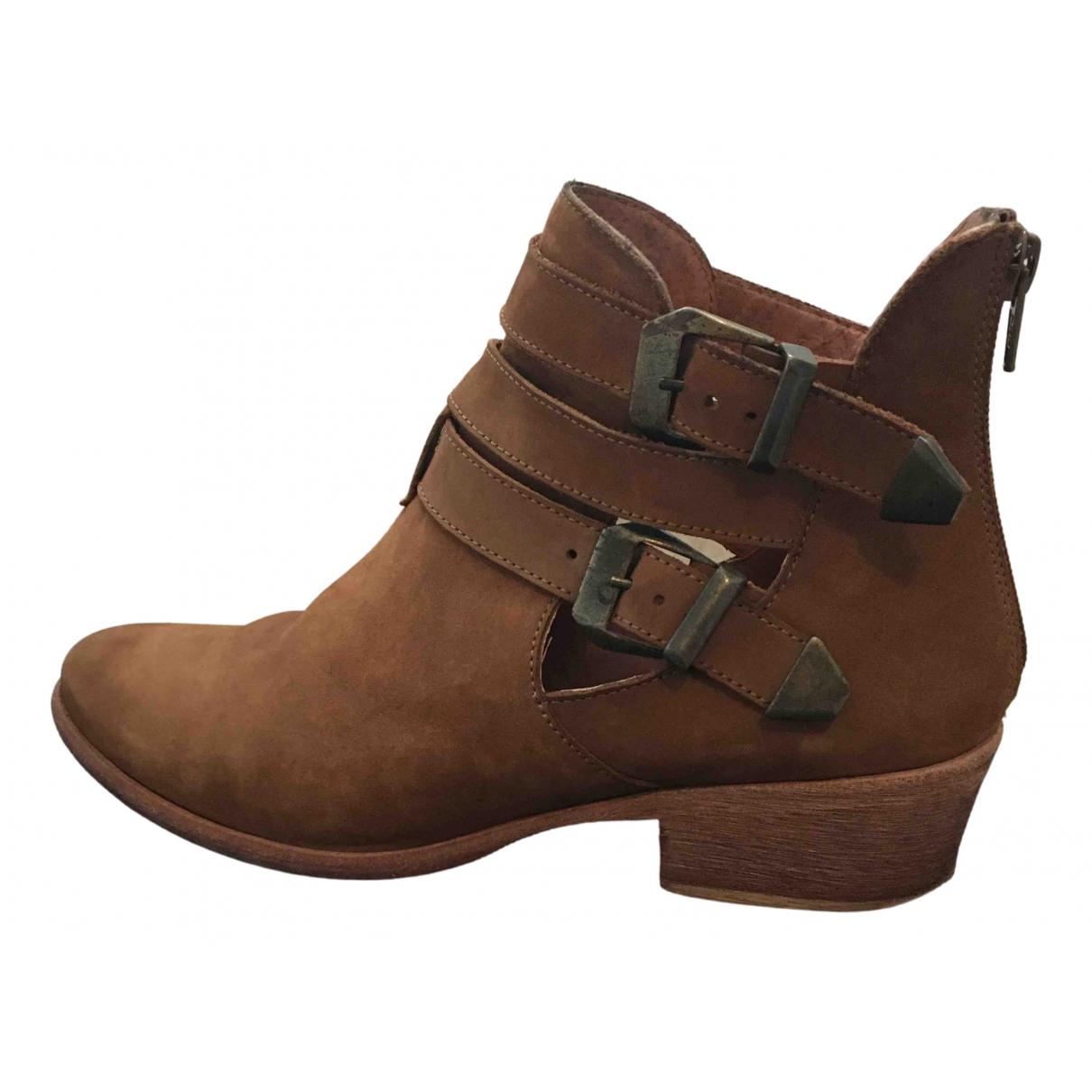 Ba&sh - Boots   pour femme en cuir - camel