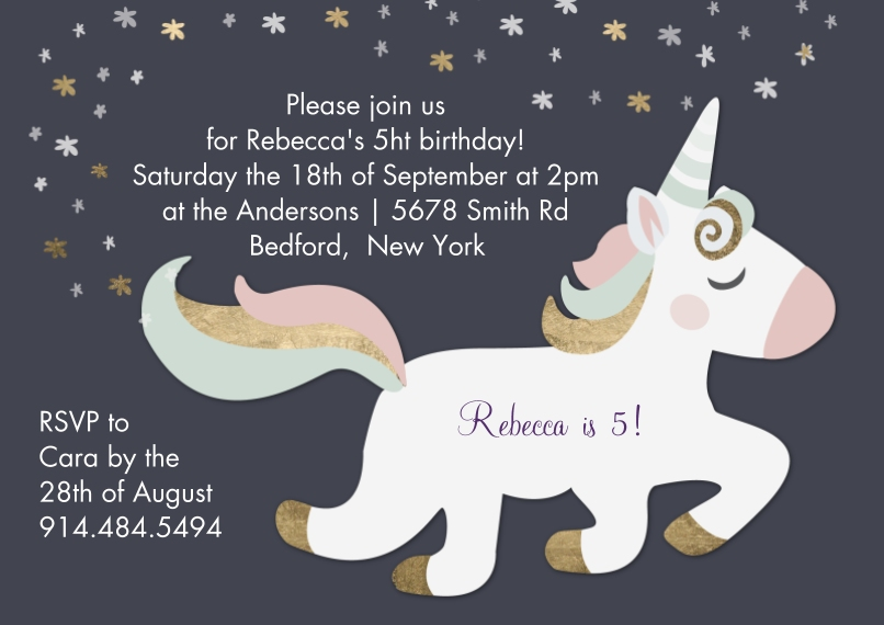 Kids Birthday Party 5x7 Cards, Premium Cardstock 120lb with Elegant Corners, Card & Stationery -Birthday Invite Unicorn Stars