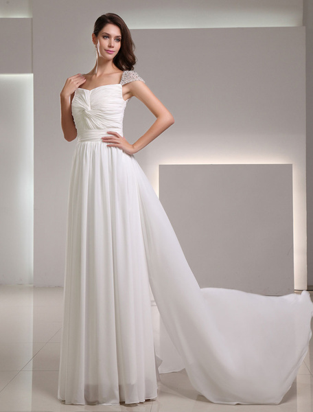 Milanoo Ivory A-line Off-The-Shoulder Beading Chiffon Bridal Wedding Gown