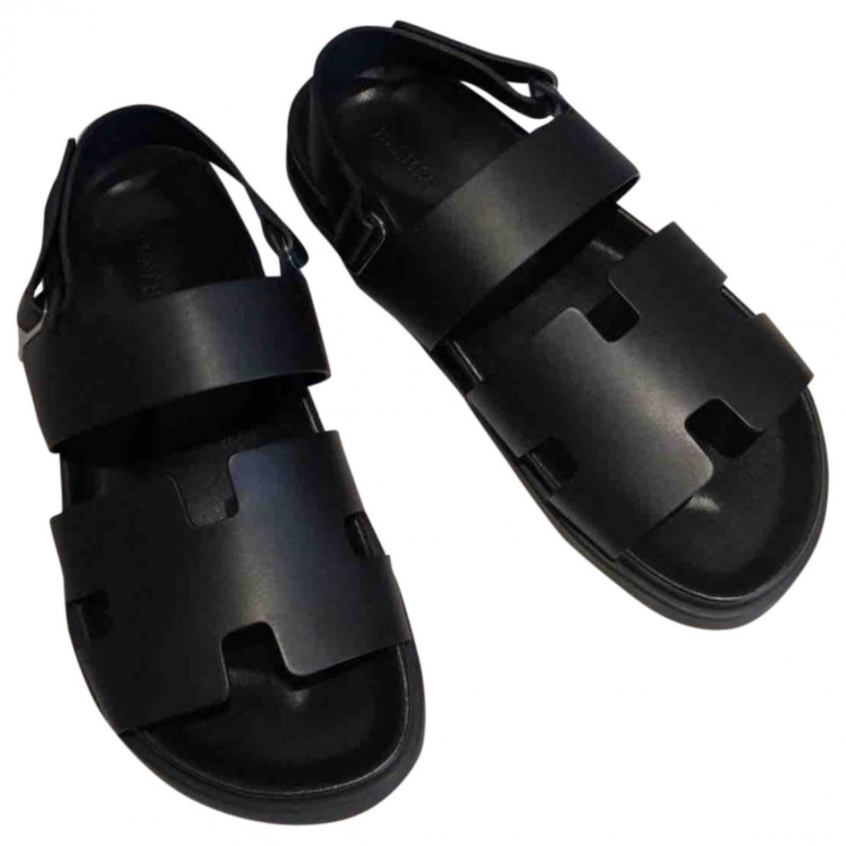 Hermes - Sandales Izmir pour homme en cuir - noir