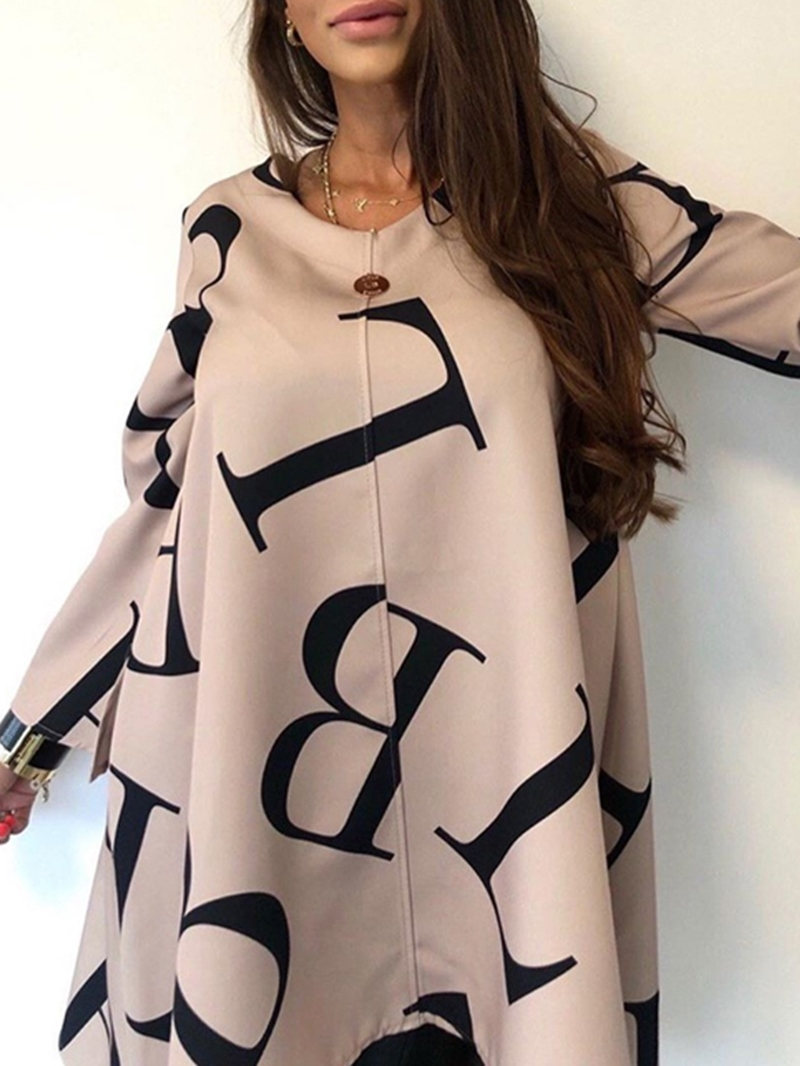 Ericdress Letter Long Sleeve Mid-Length Casual Loose Womens T-Shirt