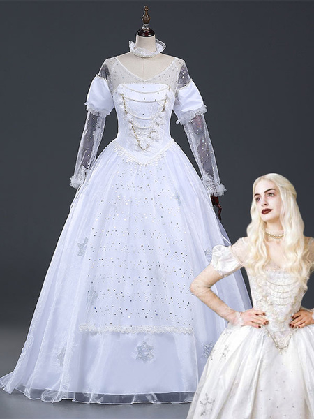 Milanoo Alice In Wonderland White Queen Movie Halloween Cosplay Costume Halloween