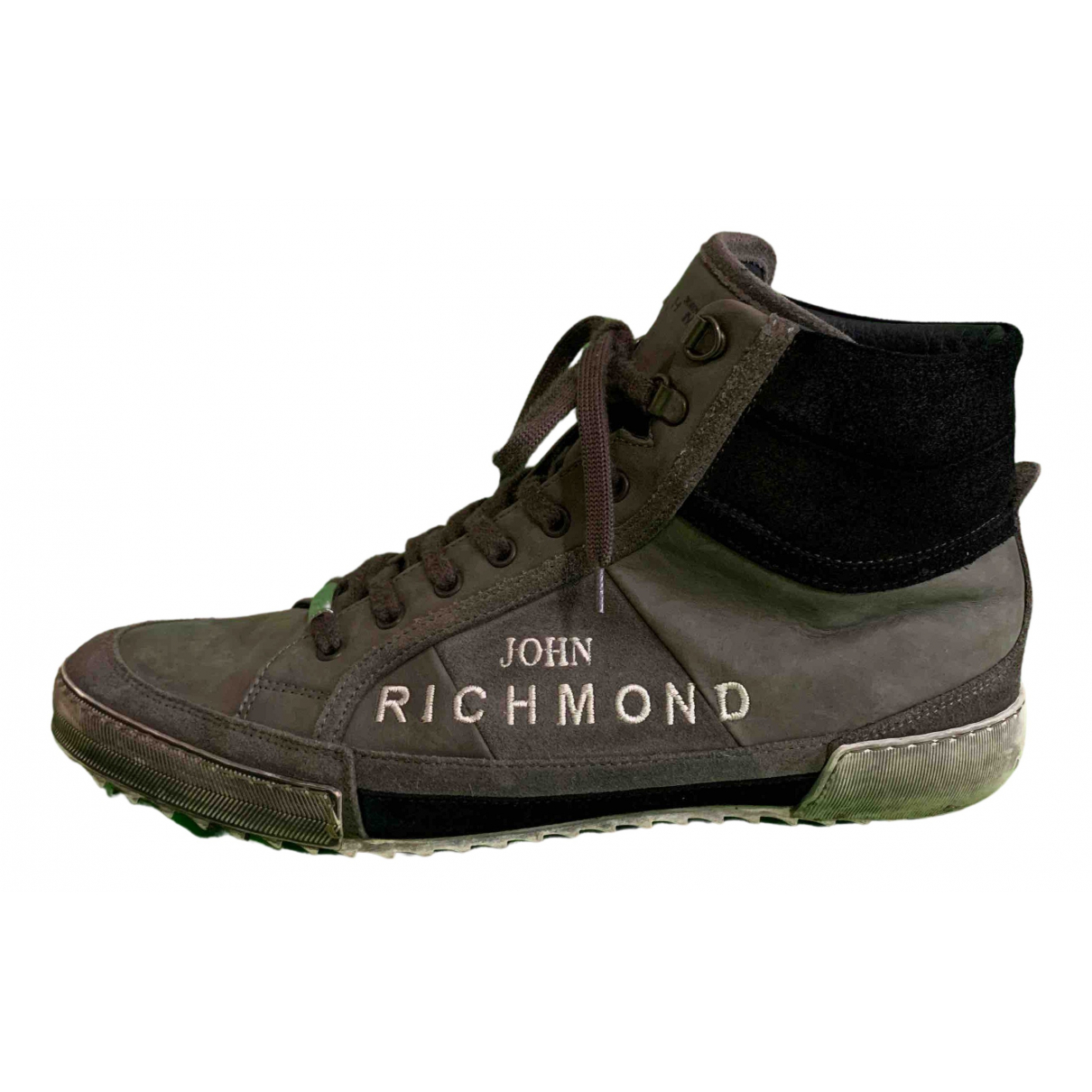 John Richmond N Grey Leather Trainers for Men 44 EU