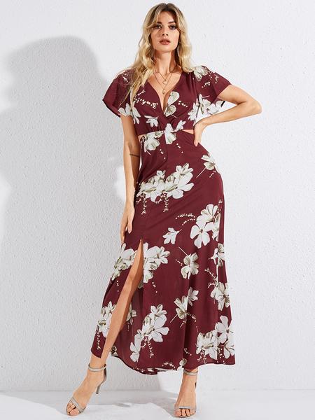 YOINS Red Cut Out Floral Print Deep V Neck Short Sleeves Dress