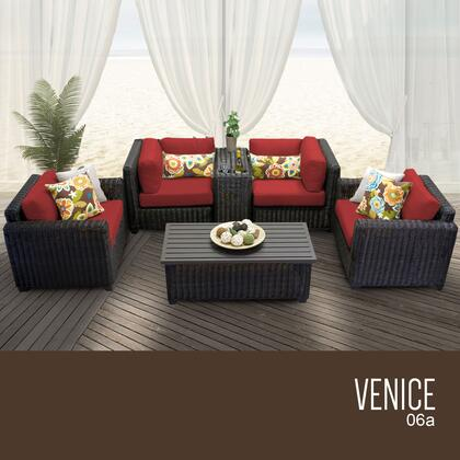 VENICE-06a-TERRACOTTA Venice 6 Piece Outdoor Wicker Patio Furniture Set 06a with 2 Covers: Wheat and